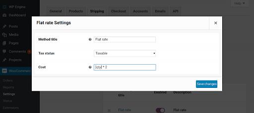 6. WordPress WooCommerce Settings to set up flat rate shipping