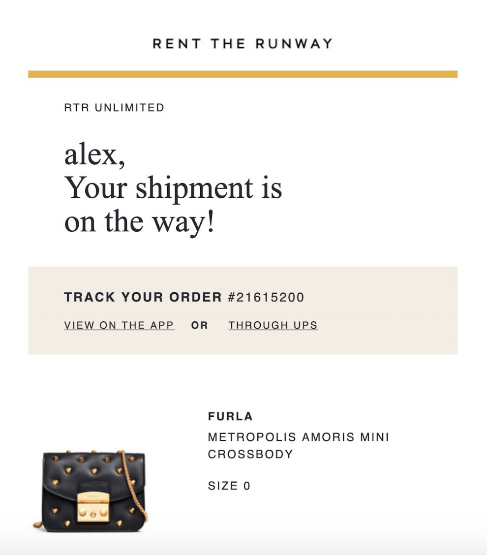 Rent the Runway shipment tracking email