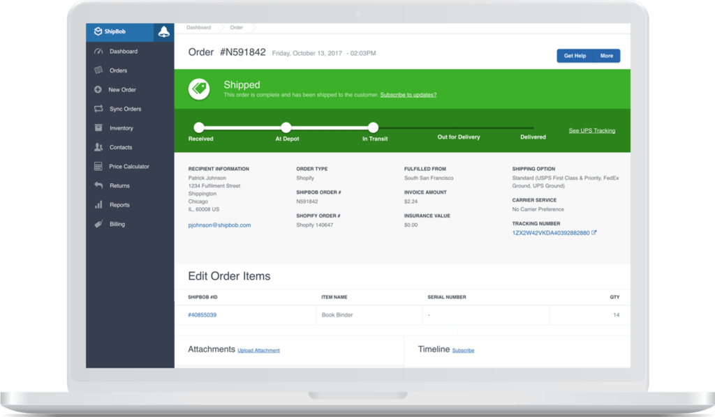 shipbob order tracking shopify order shipped