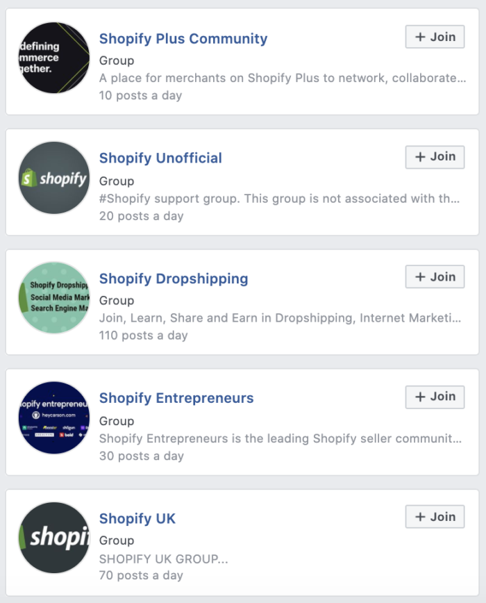 Shopify community in Facebook Groups